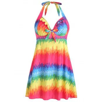 Knotted Rainbow Halter Swimsuit