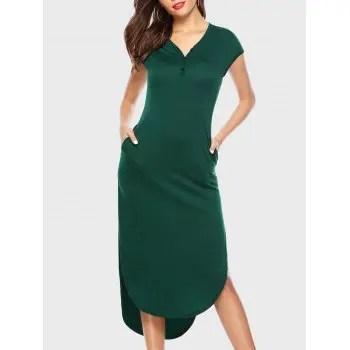 V Neck High Low Hem Dress