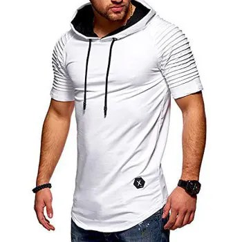 Short Layered Raglan Sleeves Hooded T shirt