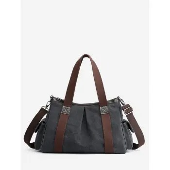 Zipper Canvas Shoulder Bag