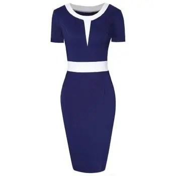 Two Tone Short Sleeve Bodycon Dress