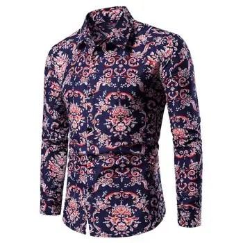 Floral Pattern Long Sleeves Shirt