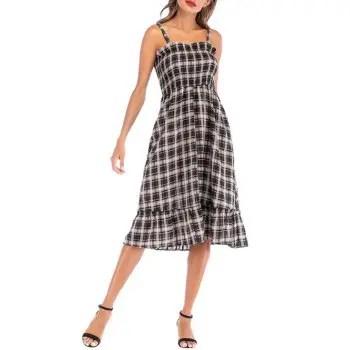 Plaid Smocked Midi Dress