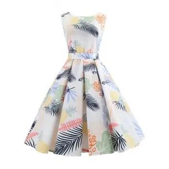 Leaf Print Sleeveless Dress