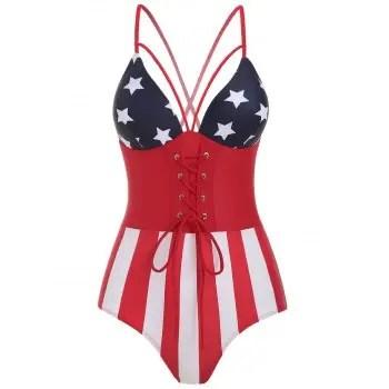 American Flag Print Swimsuit