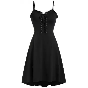 Lace Up Cami Flare Dress