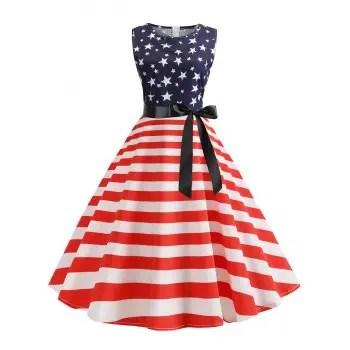 A Line American Flag Retro Dress