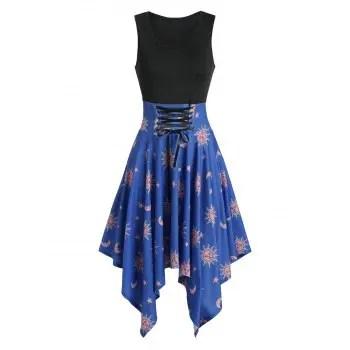 Moon and Sun Print Asymmetric Dress