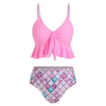 Flounce Scale Print Mermaid Tankini Swimsuit