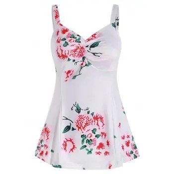Floral Print Ruched Tank Top