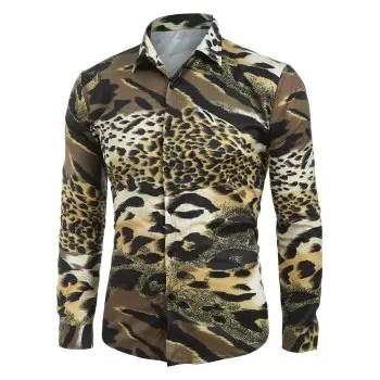 Cheetah Print Button Up Casual Shirt