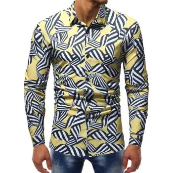 Abstract Spiral Print Button Down Casual Shirt