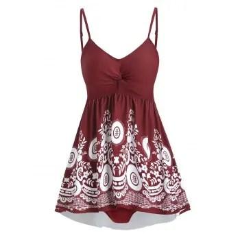 Floral Twisted Tankini Swimwear