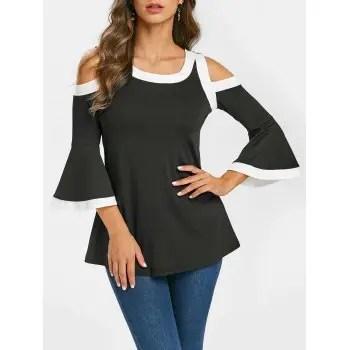 Cold Shoulder Contrast Trim Flare Sleeve T Shirt