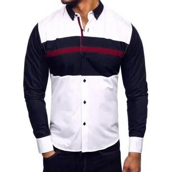 Color Block Casual Button Down Shirt