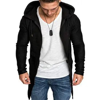 Solid Color Slit Zippered Hoodie