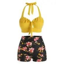 dresslily Halter Floral Ruched Boyshorts Bikini Swimwear