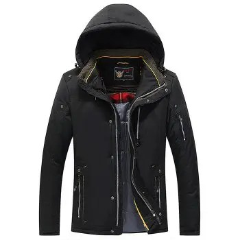 Men Quilted  Solid Color Hooded Casual Trendy Thicken Coat