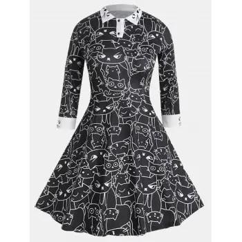 Women Long Sleeve Turn down Collar Printing Dress