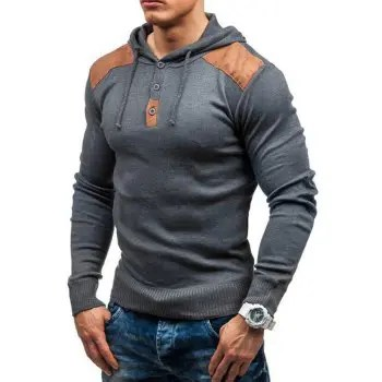 Men s solid color hooded pullover sweater double shoulder suede stitching