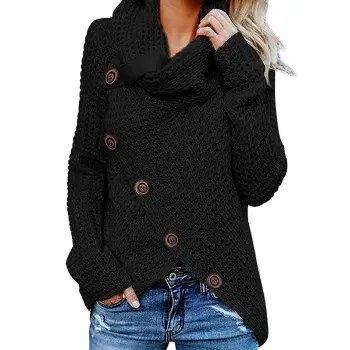 Five Buckle High Collar Pullover Solid Color Women s Sweater