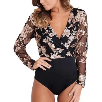 32173 Female Gold Sequin Black Mesh Long Sleeve Bodysuit
