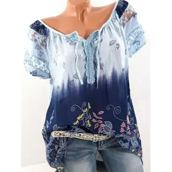 V neck Printed Lace Short sleeved T shirt