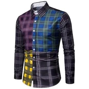 Plaid Print Color Block Casual Shirt