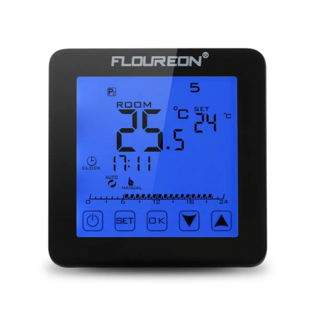 Floureon Electric Heating Thermostat Blue Backlight LCD Display Temperature controller HY08WE-1 - BLACK