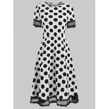 Women s Round Neck Short Sleeves See through Lace Patchwork Dot Printing Dress