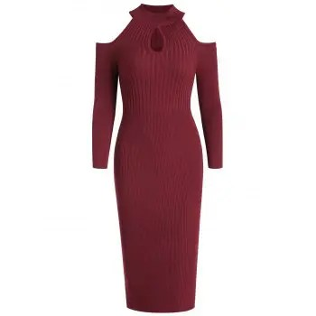 Women s Stand Collar Dew Shoulder Long Sleeved Bodycon Dress