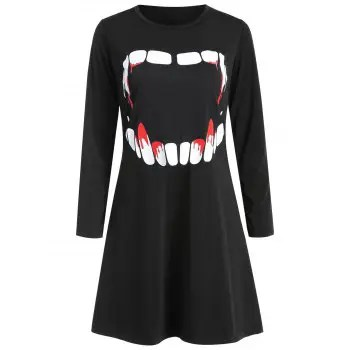 Women s Round Neck Long Sleeve Halloween Printing A line Dress