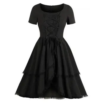 Hepburn Vintage Series Women Dress Spring And Summer Round Neck Pure Color Crossover Strap Lace Decorated Design Short Sleeve Corset Dress