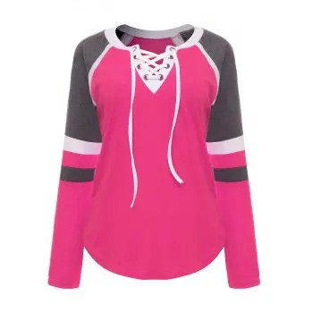 Colored Splice Lace up Tops