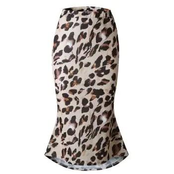 Womens Elegant  High Waist Pencil Mid Calf Skirt Leopard Print Skirt