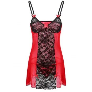 Women Sexy Shoulder Strap Bowknot Plus Size Babydoll Lingeries Sleepdress