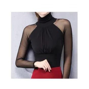 Women Elegant Fashion High Collar Top Women Sexy   Long Perspective Sleeve Female T shirt