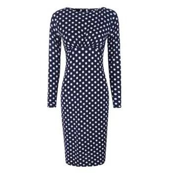 Dot Printed Round Neck Long Sleeves Ruffled Pencil Dress