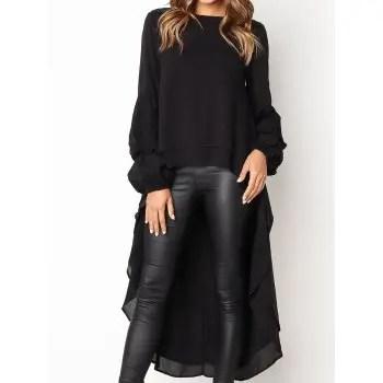 2018 Women Asymmetrical  Long Sleeve Shirt Dress Plus Size Ruffle Hem Evening Party Dress Clubwear