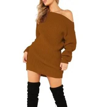 Women s Dew Shoulder Long Sleeve Bodycon Dress