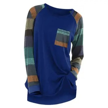 Colorful Stripe Round Neck Long Sleeve Casual T shirt
