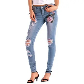Womens Denim Rose Embroidered Destroyed Frayed Hem Skinny Jeans Hole Jeans