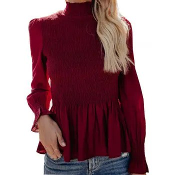 Womens Casual High necked trumpet sleeves Chiffon Shirt Blouse Tops