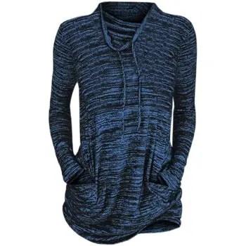Womens Cowl Neck Long Sleeve Pocket Casual Tunic Sweatshirts T shirt