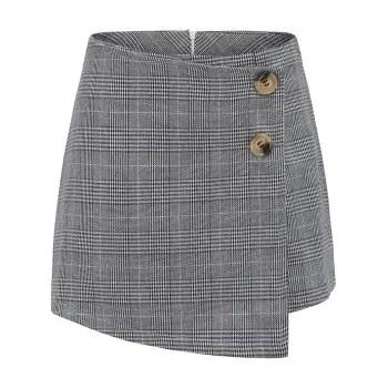 Womens Mid Waist Skinny Asymmetrical Geometric Print Wrap Casual Shorts
