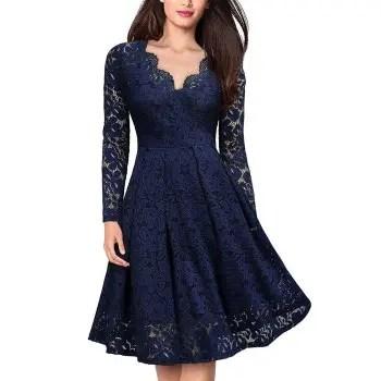 Lace V Neck Long Sleeves Swing Dress