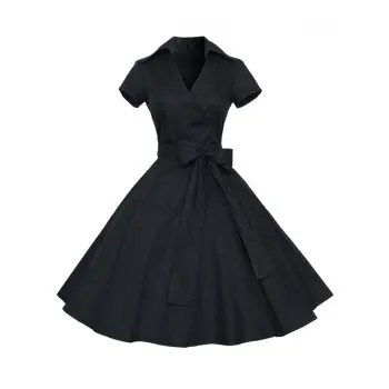 Hepburn Vintage Series Women Dress Spring And Summer Pure Color Lapel V neck Design Short Sleeve Retro Belt Dress