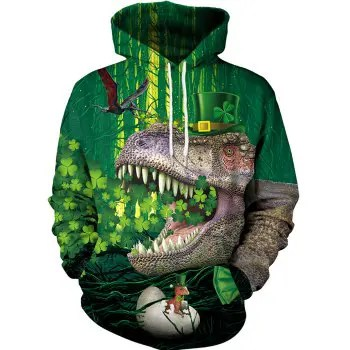 Unisex Realistic 3D Digital Clover Print Pullover Hoodie Hooded Sweatshirt