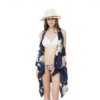 Flower Print Travel Beach Sunscreen Blouse