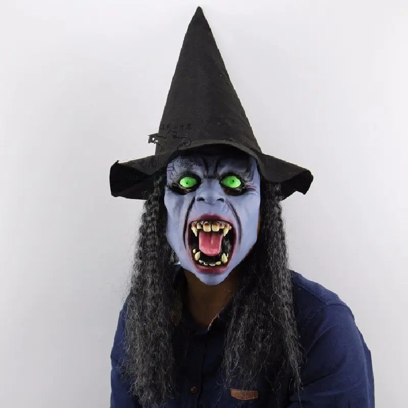 Yeduo Fangs Night Witch Halloween Christmas Bar Party Ghost House Horrible Tricky People Latex Headgear Mask Dress Up Performing Props - COLORMIX